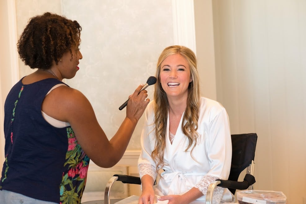 real bride Fallon getting ready on her wedding day.