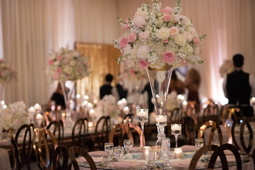 the floral table decorations at real bride Fallon's wedding.