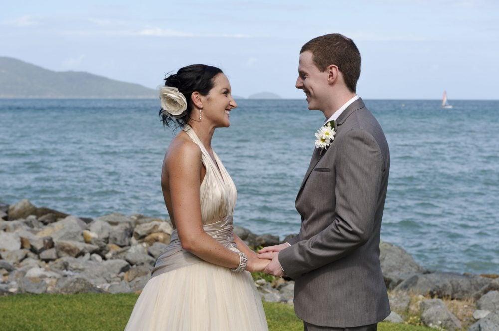 Bride and groom at their wedding on Hamilton Island, Australia.