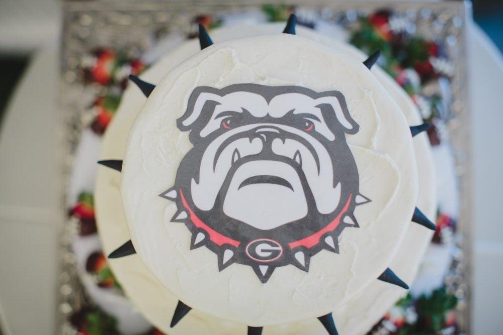 Bulldog wedding cake.