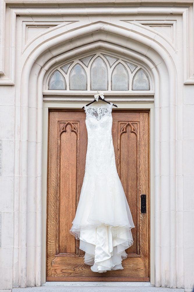 Hanging Augusta Jones wedding gown.