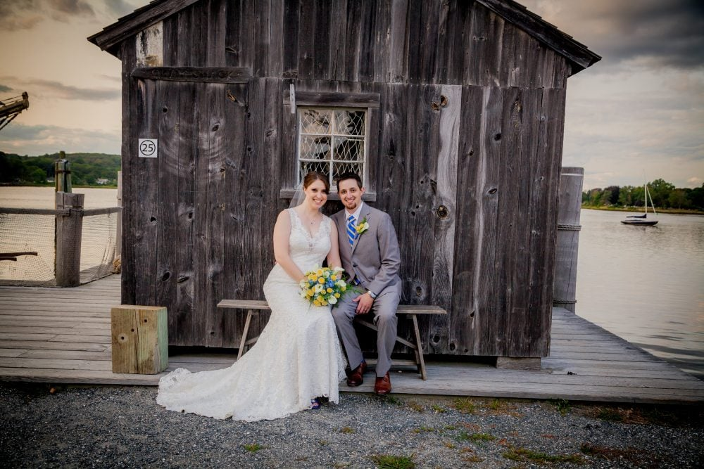 Real Bride Megan and her groom on their wedding day in Mystic Seaport, CT.