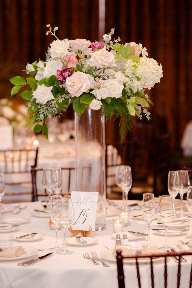 Wedding reception flower table arrangements in Florida.