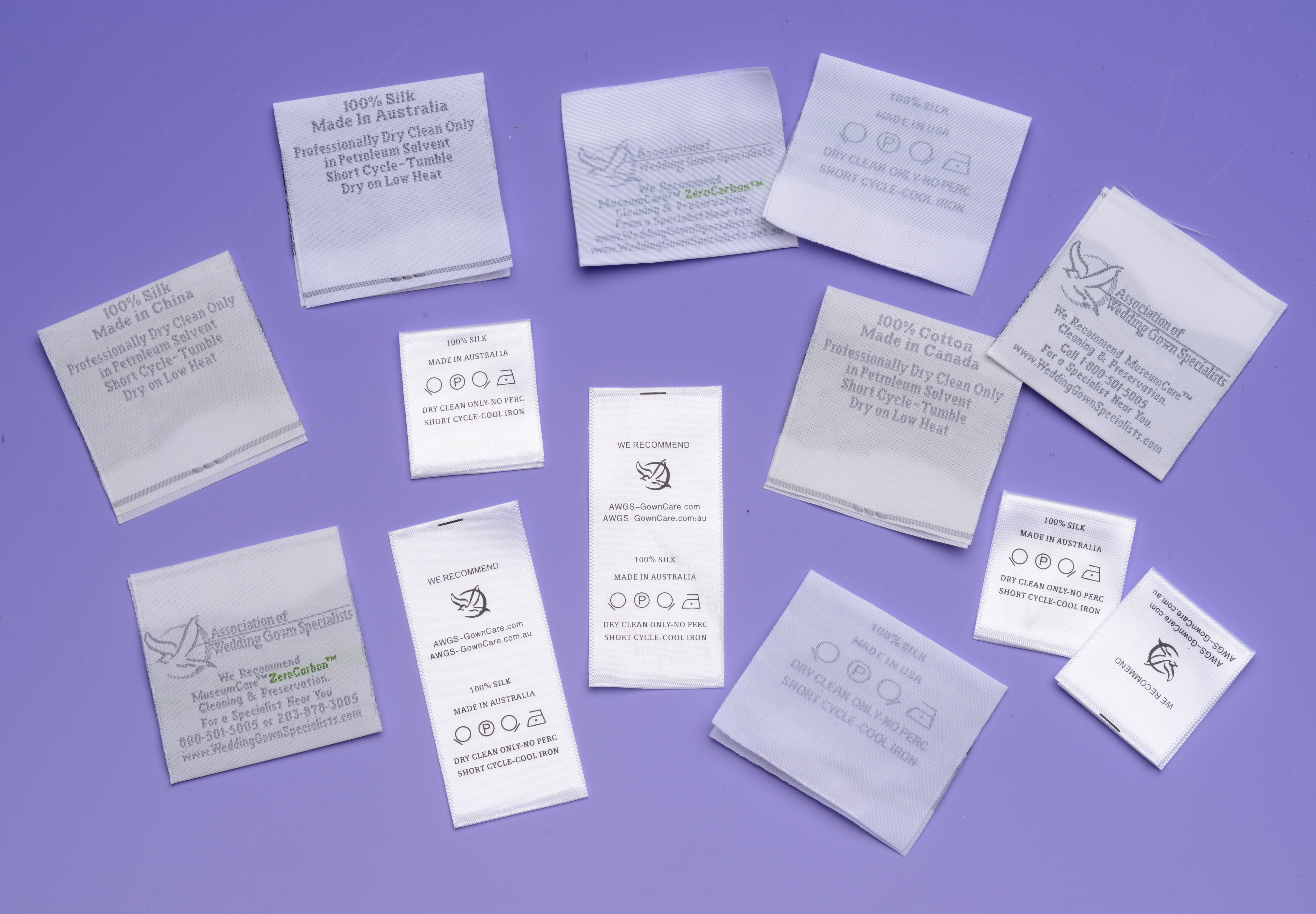 Wedding gown care labels from the Association of Wedding Gown Specialists