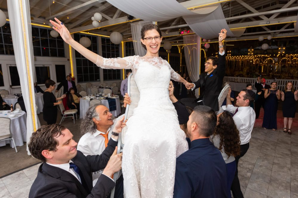 Real Bride Shari having a blast dancing at her Israeli wedding.