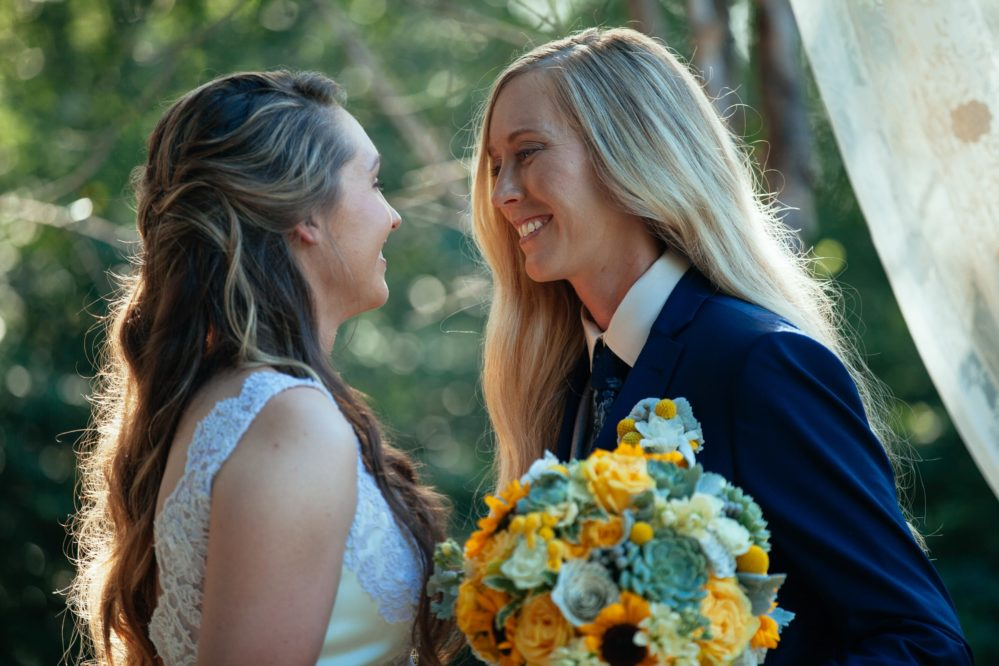 Brides Shelby and Jessica sharing an intimate moment on their wedding day in Nashville, TN.