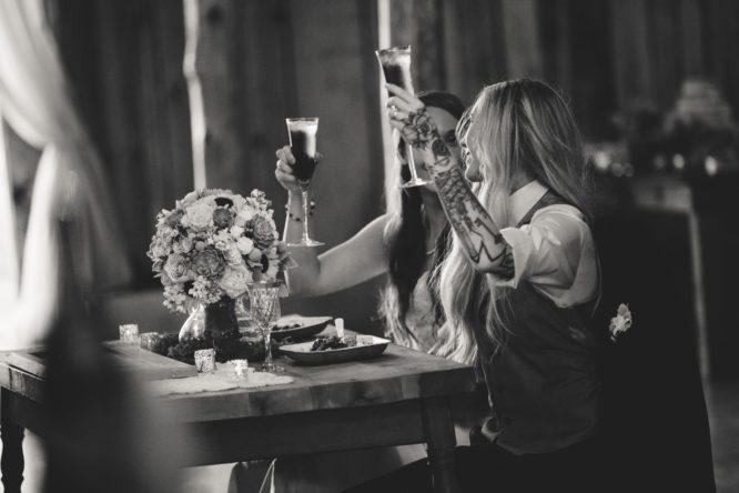 Real brides enjoying a toast