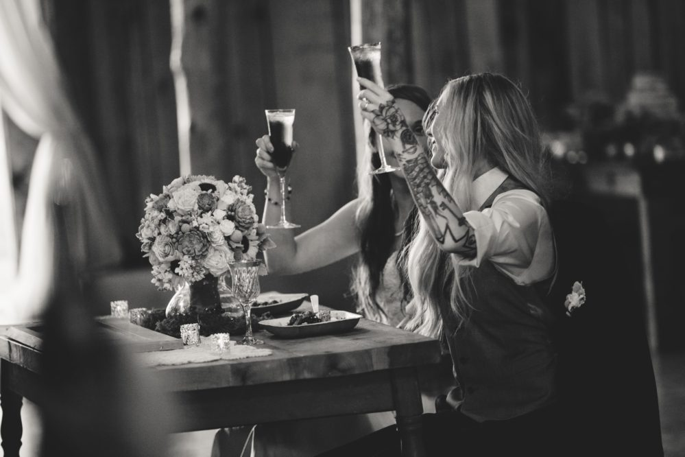 Real brides enjoying a toast